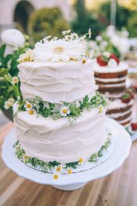 Matrimonio a tema margherite: spatolata con panna margherite