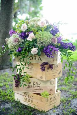 Cassette di legno con fiori