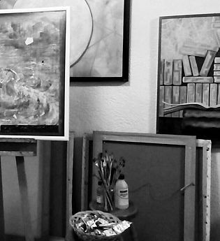 ♦ At the studio. Painting, schetching, p