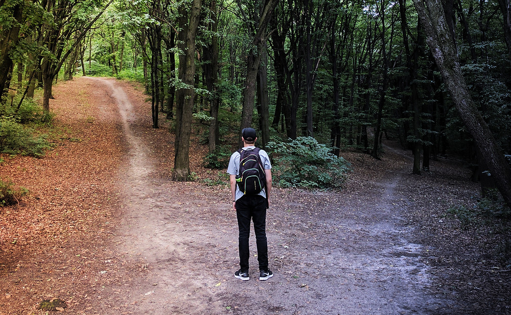 hiker at a crossroads