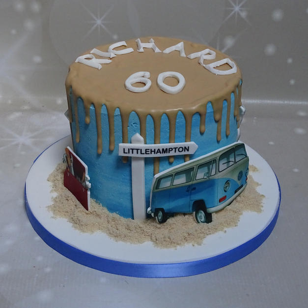 Seaside Themed Drip Cake