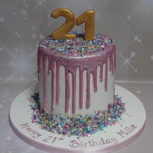 Pink Sheen drip Cake