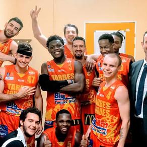 Voilà un moment de bonheur saisi dans le vestiaire après la victoire de l'Union à Lorient (59-56)