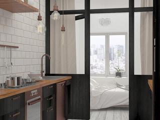Оформление маленькой кухни в черном цвете
