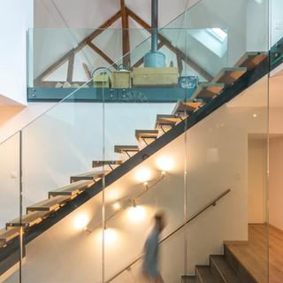 escalier bois verre combles