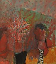 גבר עציץ ואישה באדום