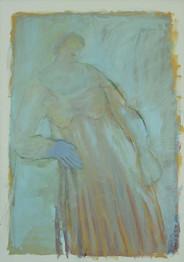 אישה עם יד כחולה שעונה על מעקה