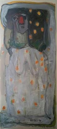 "אישה עם כובע פונפון | אקריליק על קנווס | גודל 110X45 ס""מ | DZ06016"