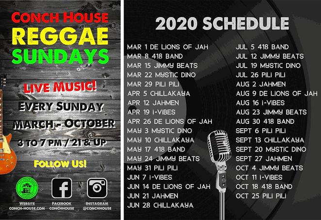 Conch House Reggae Sunday Music Lineup 2