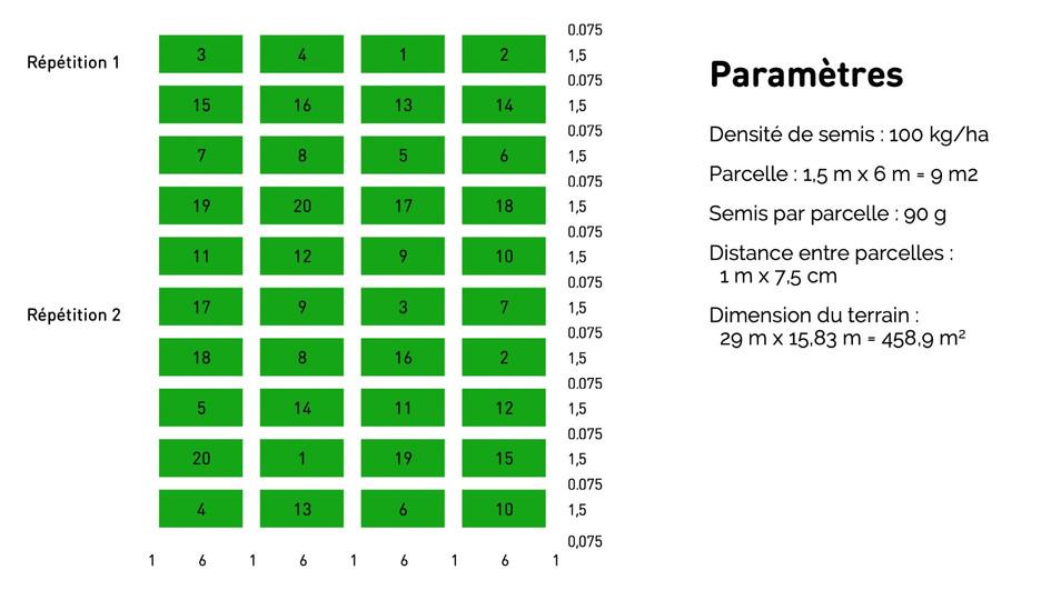 Plan du test sur l'exploitation de Jean-Pierre Deru et paramètres