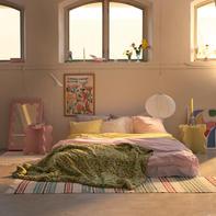 Curvy Mirror Mini Pink & Curvy Table Mini
