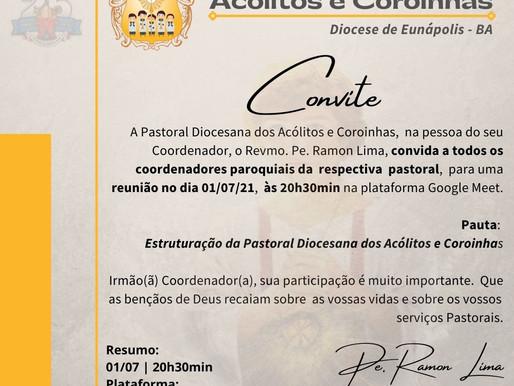 Convite da Reunião Pastoral dia 01/07/21