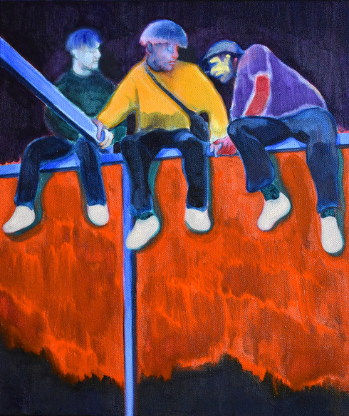 Three figures on blue railing