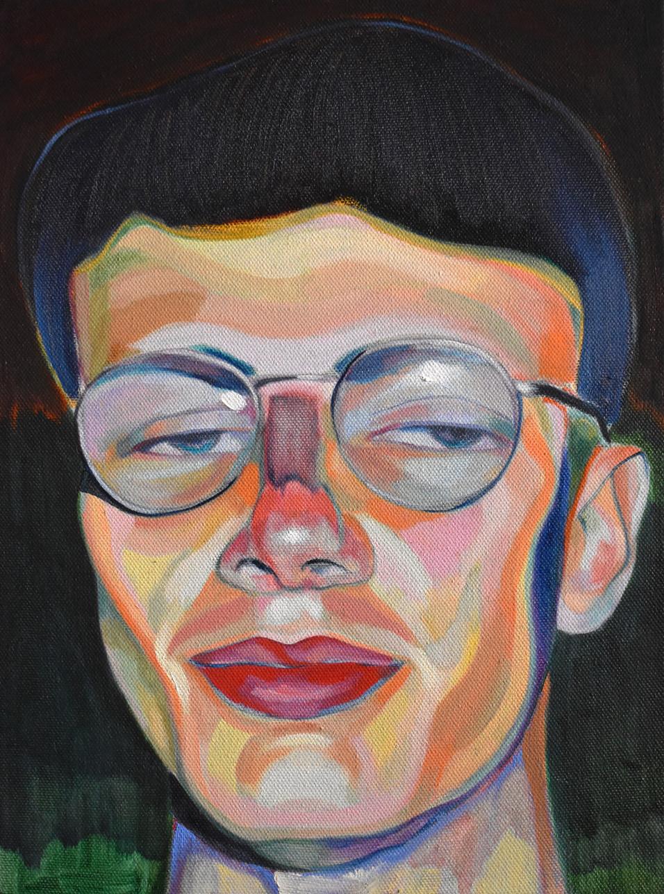 Blue, tinted portrait