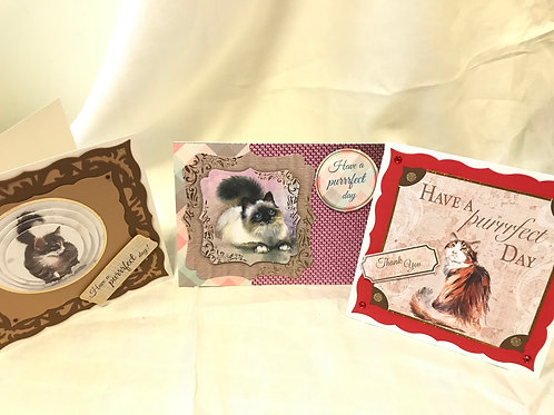 3 card set - cats - Have a Purrfect Day!