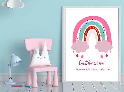 Pink Rainbow Birth Certificate (Digital Copy)