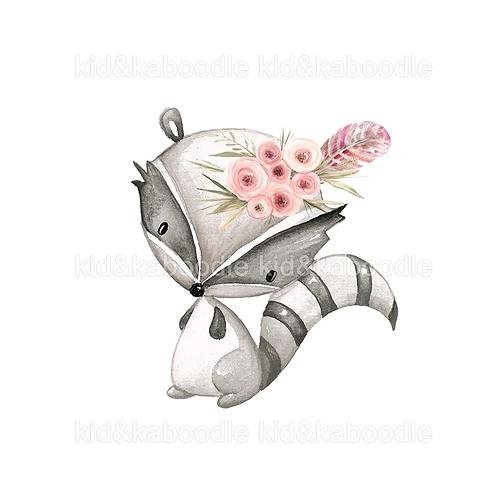 Pink Raccoon Print