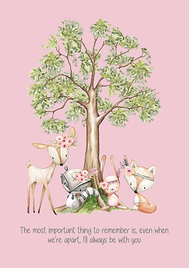 Pink Woodland Creature Quoted Print