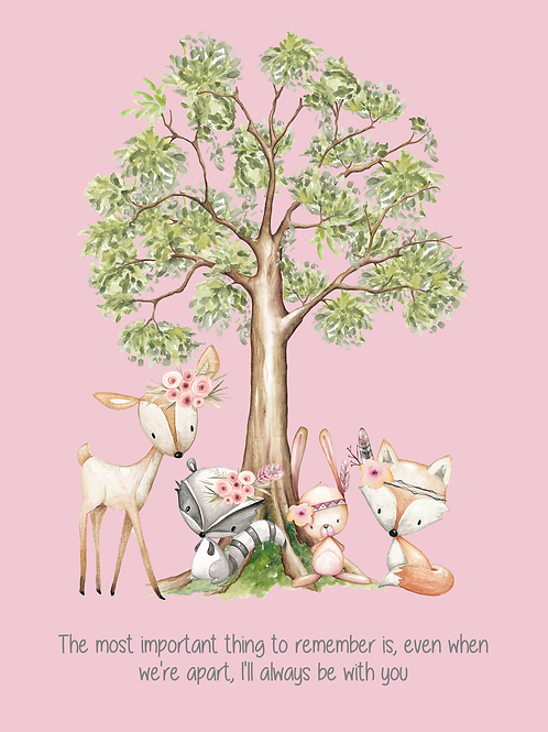 Pink Woodland Creature Quoted Print (PHYSICAL)