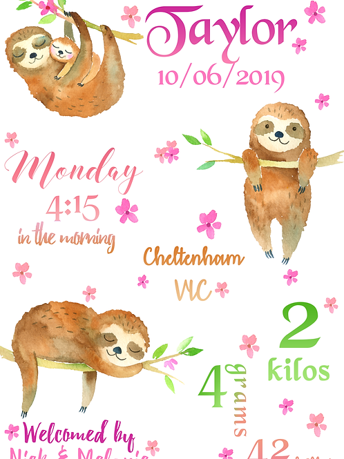 Sleepy Sloth Birth Certificate