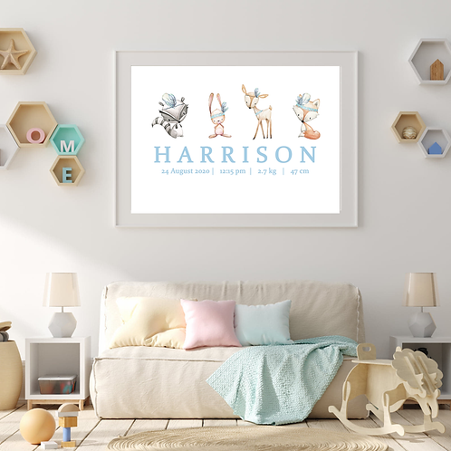 Personalised Blue Woodland Print (PHYSICAL)