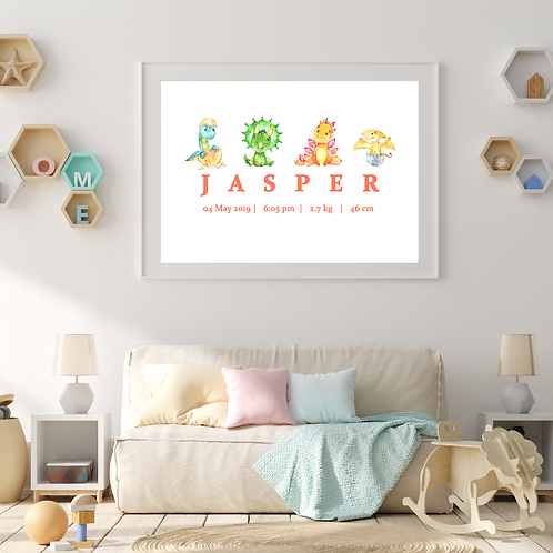 Personalised Baby Dinos Print (PHYSICAL)