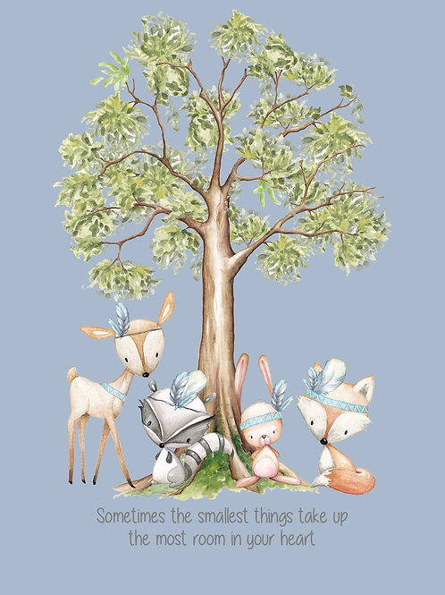 Blue Woodland Creature Quoted Print (PHYSICAL)