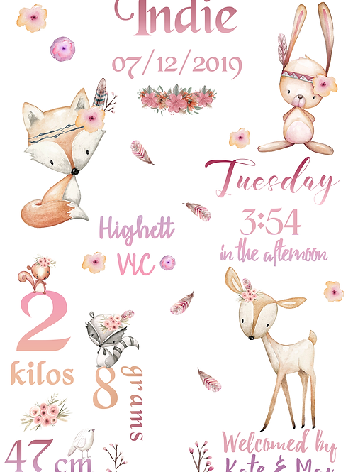 Pink Woodland Creatures Birth Certificate