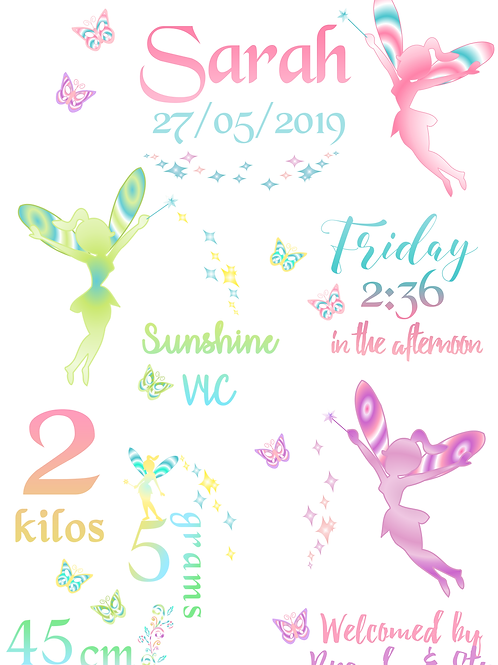 Fairy Silhouettes Birth Certificate