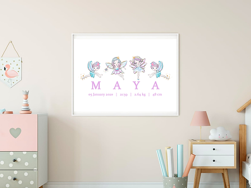 Personalised Rainbow Faeries Print (PHYSICAL)