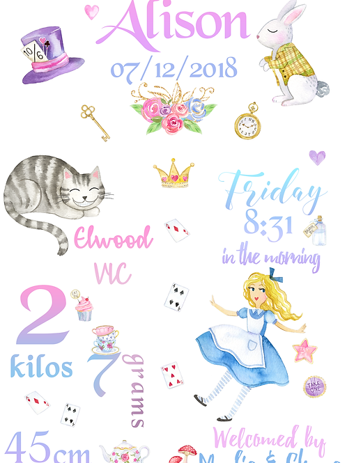 Alice's Adventures Birth Certificate (DIGITAL)