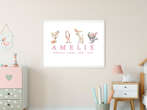 Personalised Pink Woodland Print