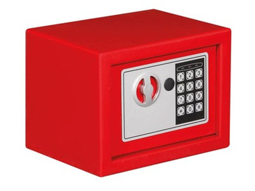Coffre fort clavier electronique de securité 23 x 17 x 17 cm coffret metal rouge