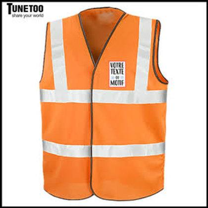 Gilet de Sécurité Orange Fluo 4 Bandes personnalisé