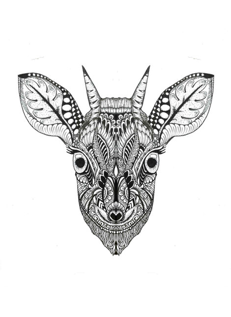 #176 Zentangle deer