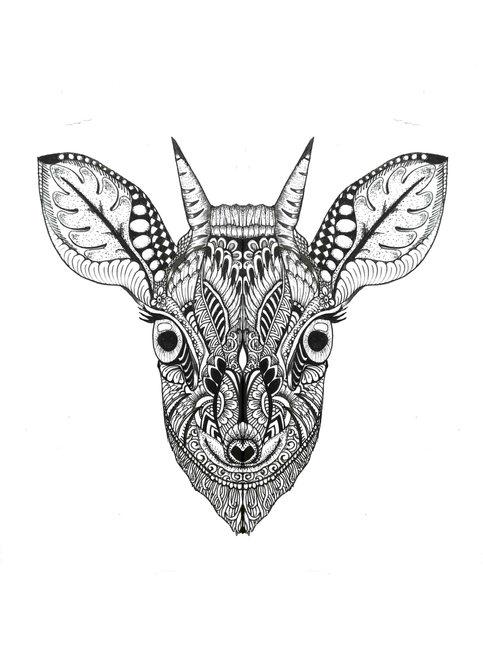 #176 Zentangle deer