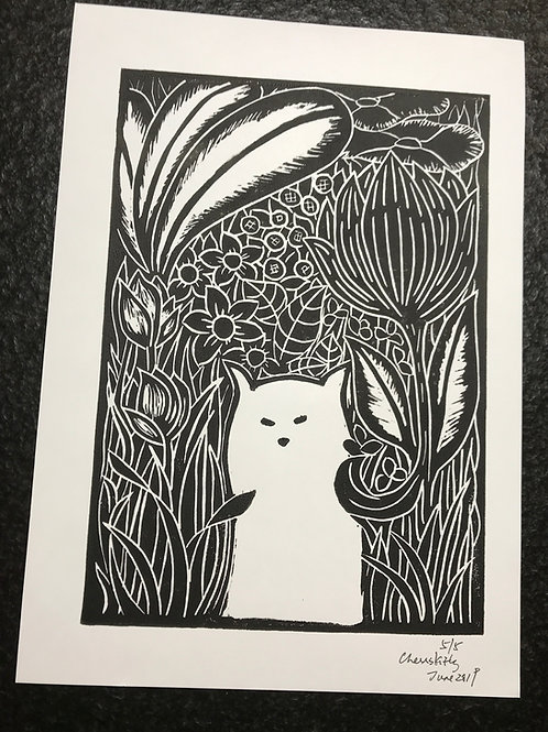 """""""Cat in Forest"""" Lino art print"""