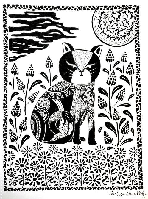 #138 block print cat