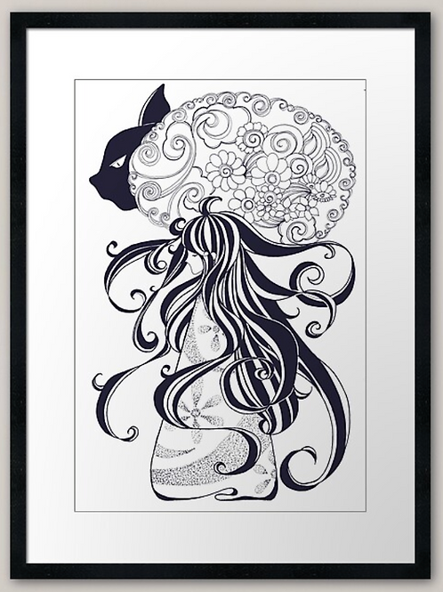 A cat And A Girl art print