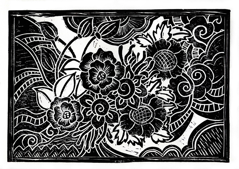 Lino cut #5. By Kitty Wong. My 2nd month of new lino cut art work. Enjoying the crafting and printing experience. Surprising to the technique and impacts along the thinking to printing process.