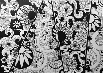 Yin and Yang Zen Flowers Pattern