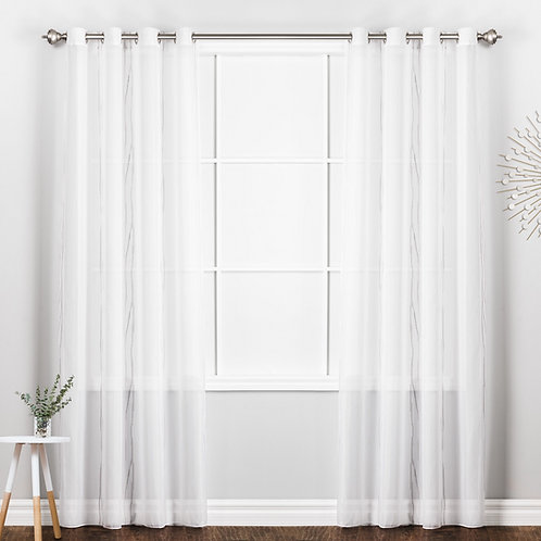 Milano Vine Embroidered Sheer Curtain Panels