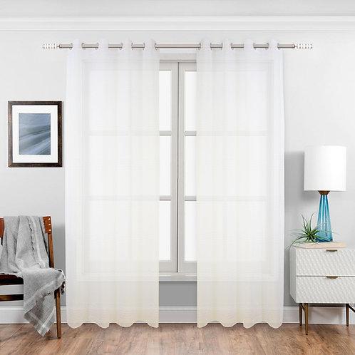 Nina Striped Sheer Grommet Curtain Panels