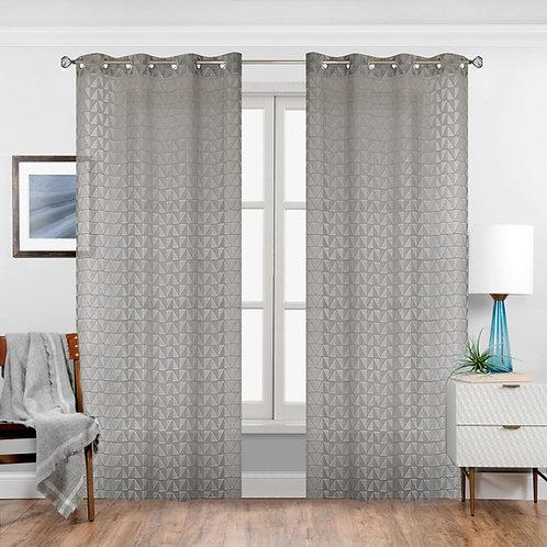 Space Geometry Semi Sheer Single Curtain Panel