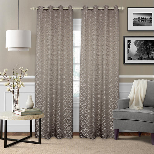 Mozaic Knitted Jacquard Geometric Blackout Thermal Grommet Single Curtain Pane