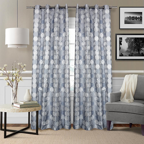 Fully Lined Polka Dot Single Curtain Panel with Grommets Blue
