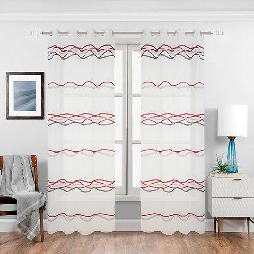 Boomer Geometric Sheer Grommet Single Curtain Panel_H256B