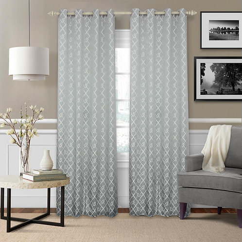 Mozaic Knitted Jacquard Geometric Blackout Thermal Grommet Single Curtain