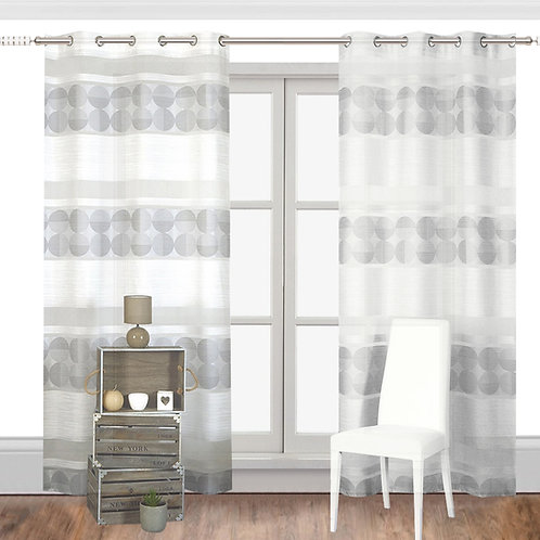 Laura Polka Dots and Striped Sheer Grommet Single Curtain Panel