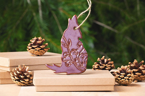 Wolf Ornament with Gift Box and Gift Tag